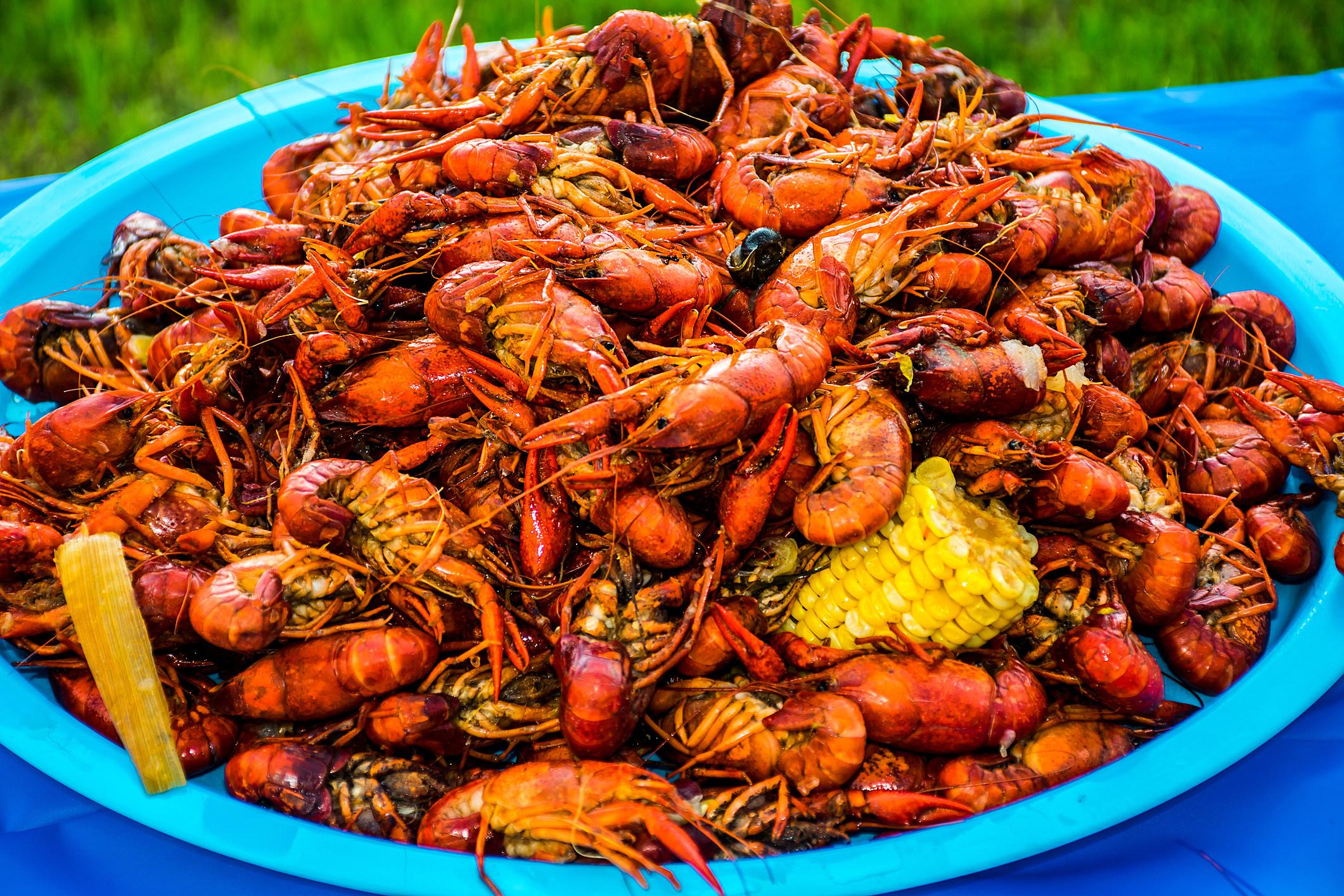 Crawfish Corn Potatoes Shell Fish Piled High Cajun Crawfish Bowl