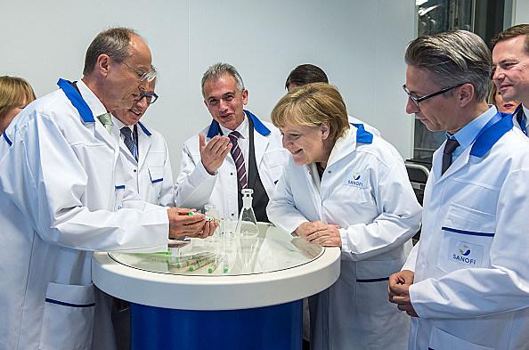 Chancellor Merkel Visits Sanofi Plant
